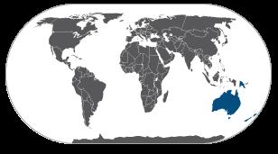 מפת אוסטרליה ואוקיאניה