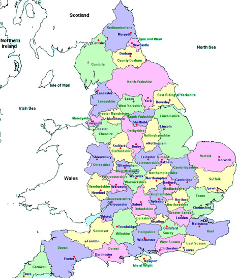 מפת אנגליה